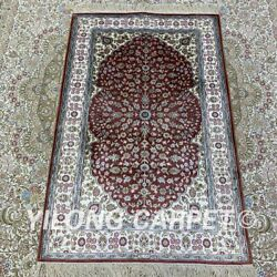 Yilong 2.5and039x4and039 Red Handknotted Silk Carpet Family Interior Oriental Rug H198b