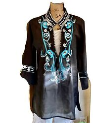 Karen-T Designs Caftan Tunic In Size L With Silver Sequins Turquoiseblk