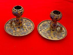 Chinese Cloisonne Metal Yellow And Cobalt Blue Chamberstick Candle Holders ❤️sj8j