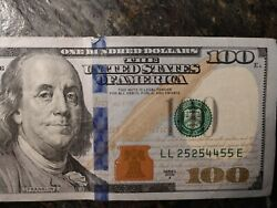 100 Dollar Bill Note Very Cool Number Repeater 2009a Real Money Gift
