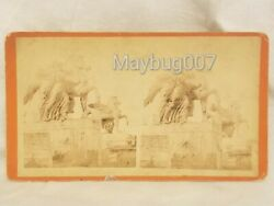 Antique Philadelphia Stereoview Statue In Front Of Memorial Hall Horse