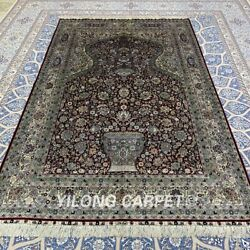 Yilong 5'x8' Red Handmade Silk Antique Carpet Family Hand Knotted Area Rug 369a