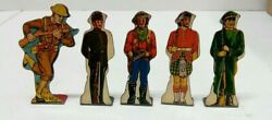 5 1940 Marx Soldiers Of Fortune Wwi Russian Cowboy Tin Target Litho Toy Scottish