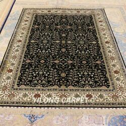 Yilong 4.5'x6.5' Antique Handmade Carpets Dining Room Hand Knotted Silk Rug 203a
