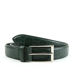 Gucci Mens Dark Green Signature Leather Rectangle Buckle Belt 10542 429028 3020 $249.99