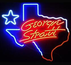 New Texas George Strait Lone Star Beer Neon Light Sign 20x16 Glass Decor Lamp