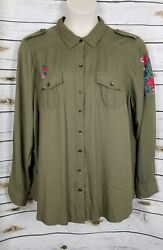 Torrid Olive Green Rayon Top Embroidered Button Down 2 2X