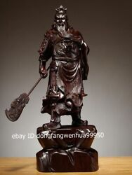 Chinese Black Rosewood Wood Dragon Guan Gong Guanyu Warrior Soldier Sculpture