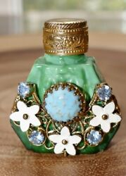 Antique Jeweled And Filigree Miniature Perfume Scent Bottle With Glass Dauber