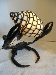 Quality Bronze Large Lobster Or Crab With Stained Glass Sea Shell Lamp