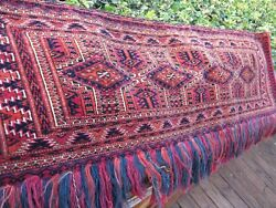 Antique 1900 Exceptional Turkoman Torba Excellent With Great Colors Full Pile