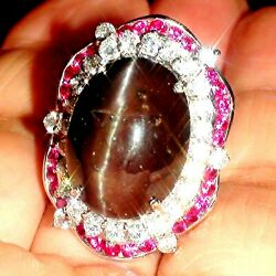 Big Natural 23.70 Ct High Quality Scapolite Cat's Eye Ring 925 Silver.s-e 7.25.