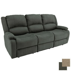 Charles 80 Cloth Double Rv Wall Hugger Recliner Sofa Couch With Console Fossil