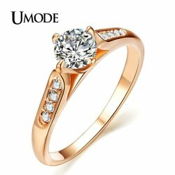 UMODE 1ct Top CZ Wedding Finger Rings for Women Engagement Classic Gold Color