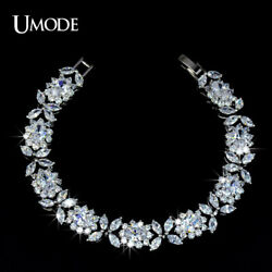 UMODE White Gold Color Queen Flower Design Cubic Zirconia Bracelet Top Quality