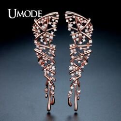 UMODE Hot Punk Style Statement Cross Drop Earrings for Women Rose Gold Color