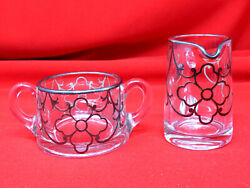 A H Heisey Glass Sugar And Creamer Sterling Silver Overlay Art Deco 1930s Usa