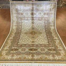 Yilong 4.5and039x6.5and039 Golden Classic Handmade Carpet Fine Hand Knotted Silk Rug 0151
