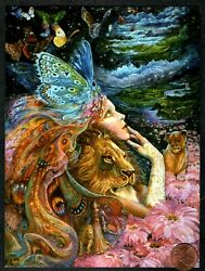 JOSEPHINE WALL Girl Lions Butterflies Flowers Clouds Birthday Greeting Card