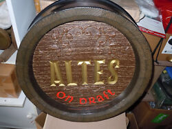 Vintage 1966 Altas On Draft Barrel Sign From The National Brewing Company.