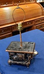 Rare And Rustic 1950s Stern Ind West Miniature Cast Iron Cook Stove Lamp. Copper