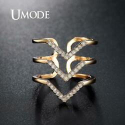 UMODE Gold Color Wave Ring Engagement Adjustable Rings for Women Zircon Ring