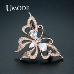 UMODE Rose Gold Butterfly Women Brooches Fashion AAA+ Cubic Zirconia Crystal
