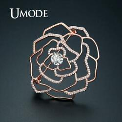 UMODE Rose Gold Color Flower Brooches Vintage Suit Pins Crystal Cubic Zirconia
