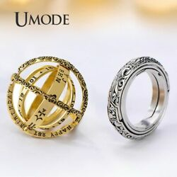 UMODE Vintage Astronomical Sphere Ball Ring for Men Women Cosmic Finger Ring