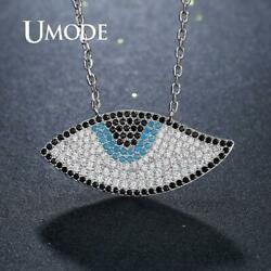 UMODE Blue Evil Eye Pendant Necklaces for Women Cubic Zirconia Pave Necklaces