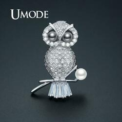 UMODE Luxury CZ Crystal New Owl Pearl Brooches for Women Silver Color Brooch