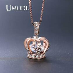 UMODE Rose Gold Crown Pendants Necklaces for Women Clear AAA+ CZ Necklace
