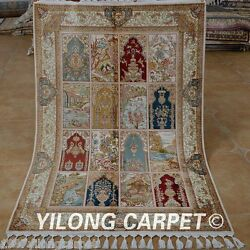 Yilong 3.5and039x5.3and039 Antique Handmade Silk Rugs Hand Knotted Carpets For Sales 1761