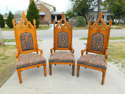Three Solid Oak Gothic Style Pulpit Chairs Circa 1900