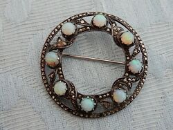 Antique Silver, Belle Epoque Opal And Marcasite Brooch / Pin, An Old Estate Find