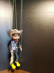 Vintage Marionette Mariachi Clown Spanish Mexican Sombrero Puppet Guitar