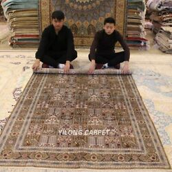 Yilong 5and039x8and039 Antique Handmade Silk Garden Scene Top Carpet Hand-knotted Rug 047m