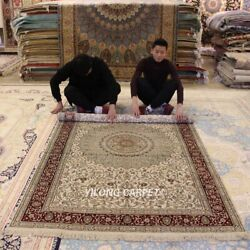 Yilong 5'x8' Exquisite Handmade Silk Carpets Home Decor Hand-knotted Rug 061m