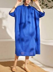 Custom Made To Order Linen Oversized Casual Loose Fit Day Dress Plus 1x-10x Y579
