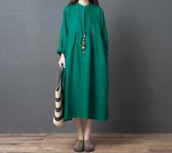 Custom Made To Order Linen Oversized Henley Casual Shirt Dress Plus 1x-10x Y580