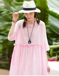 Custom Made To Order Linen Oversized Pullover Day Peplum Dress Plus 1x-10x Y582