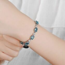 925 Sterling Silver Charm Created Aquamarine Bracelets Women Anniversary Gifts