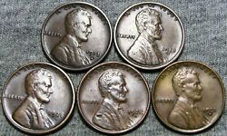 1913-s +1918-s +1925-s +1928-d +1931-d Lincoln Wheat Cents ---nice Lot--- Z294