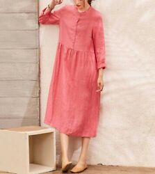 Custom Made To Order Casual Oversized Linen Henley Party Dress Plus 1x-10x Y588