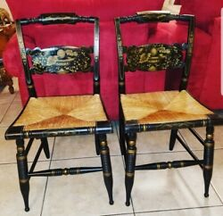 Signed L.hitchcock Rush Bottom Bolster Black And Stenciled Turtle Back Chairs
