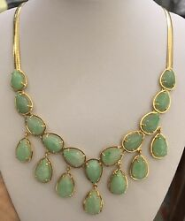 14k Solid Yellow Gold/32gm/pendant And Omega Necklace With Natural Jade Pear Cut