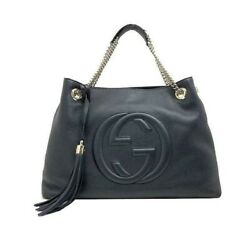 GUCCI Vintage Black Soho Cellarius GG Logo Leather Chain Bag & Tassel Keychain