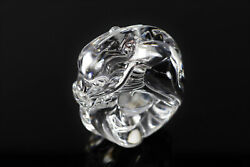 Steuben Glass Dragon Hand Cooler | Signed Crystal Paperweight | Ouroborus