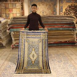 Yilong 3and039x5and039 Rose Pattern Handmade Silk Carpet Blue Porch Hand Knotted Rug H048a