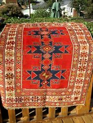Antique 1890-1900 Caucasian Shirvan Small Fine Rug 4and03911x 3and0399